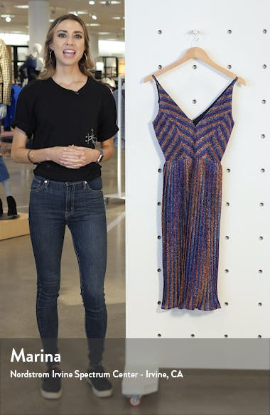 Haley Metallic Stripe V-Neck Cocktail Dress, sales video thumbnail