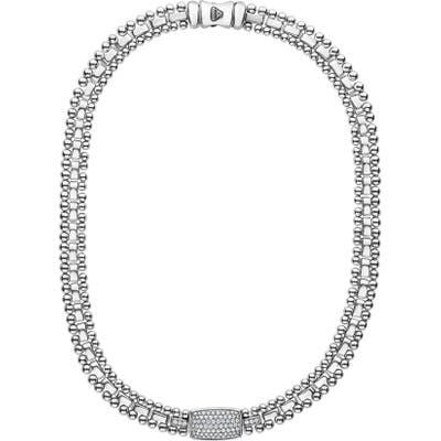 Lagos Caviar Spark Diamond Pave Collar Necklace