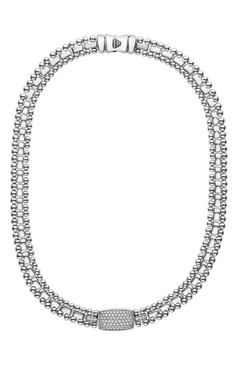 LAGOS Caviar Spark Diamond Pavé Collar Necklace, Main, color, SILVER/ DIAMOND