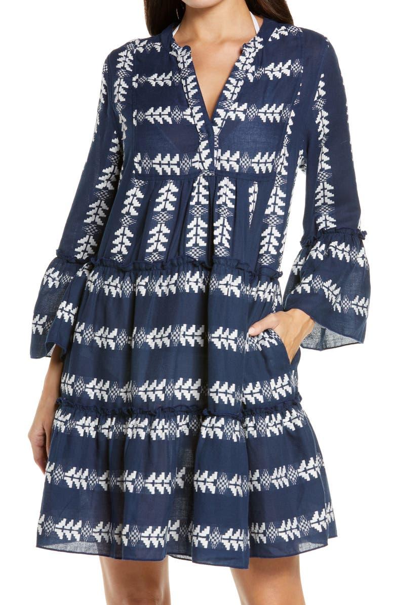 ELAN Grecian Cover-Up Dress, Main, color, NAVY/ WHITE