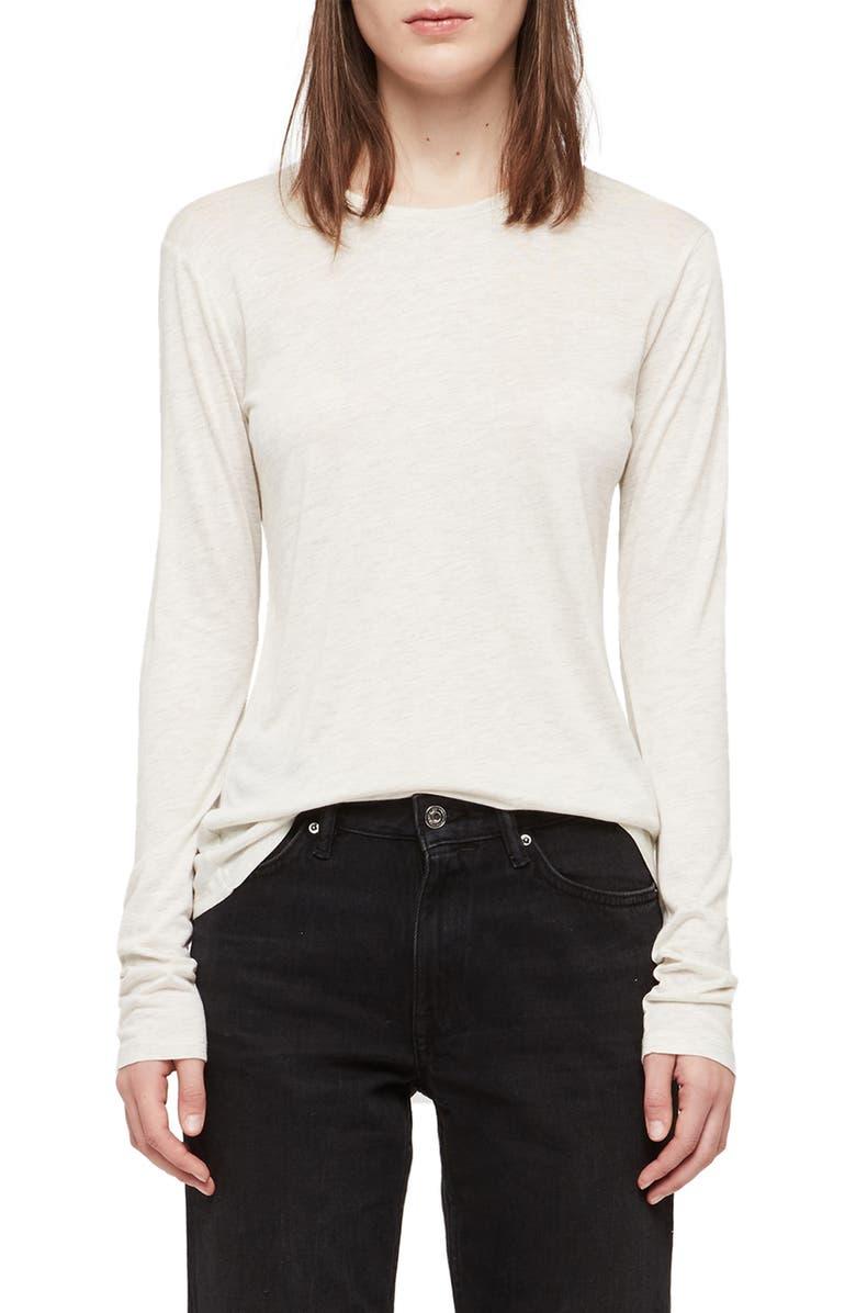 ALLSAINTS Esme Shimmer Long Sleeve Tee, Main, color, CHALK MARL