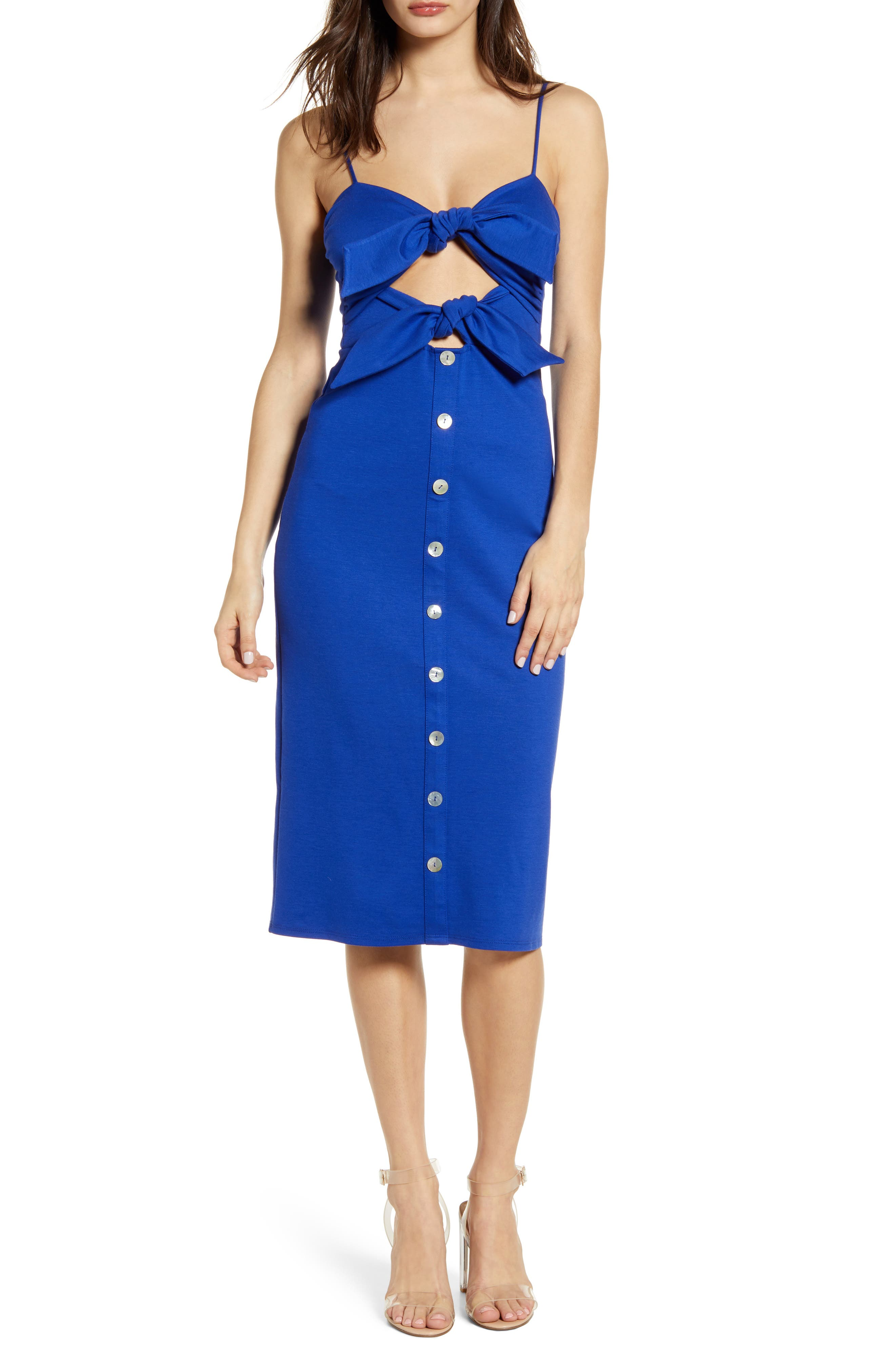 4Si3Nna Double Front Bow Button Front Midi Dress, Blue