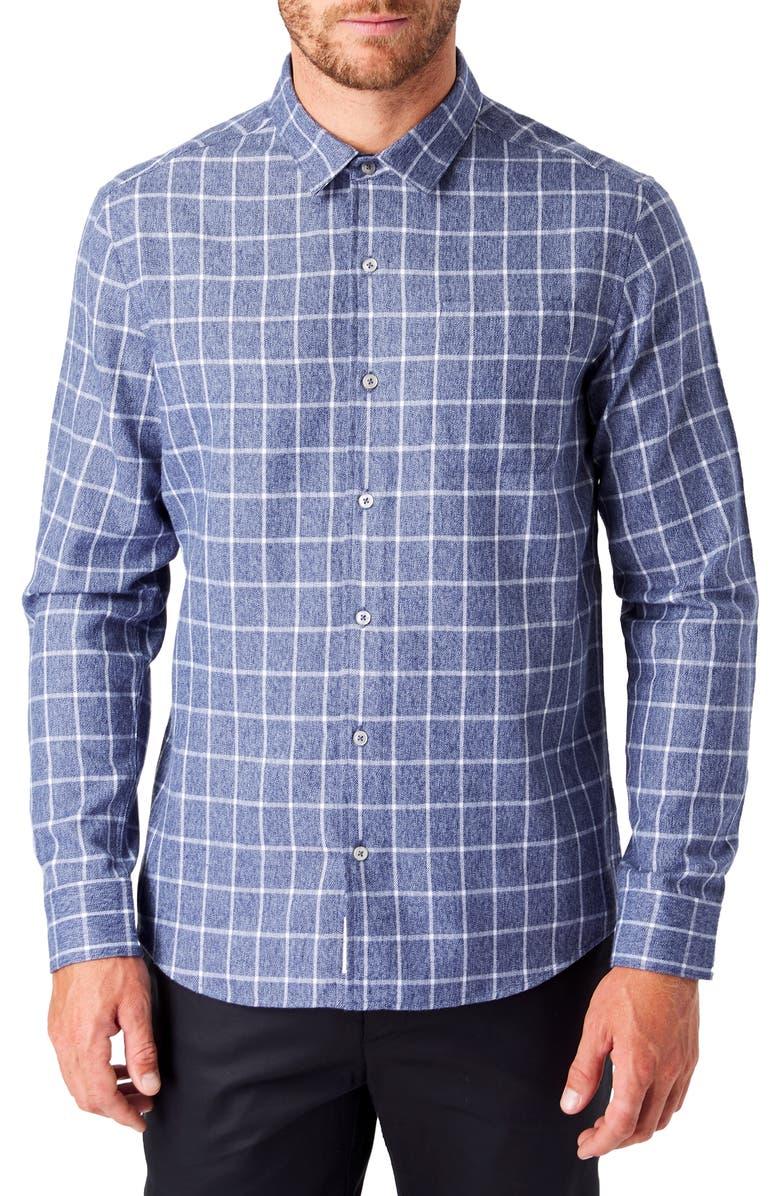 7 DIAMONDS Montana Slim Fit Flannel Button-Up Shirt, Main, color, BLUE