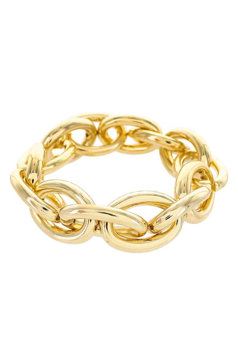 PANACEA Link Stretch Bracelet, Main, color, GOLD