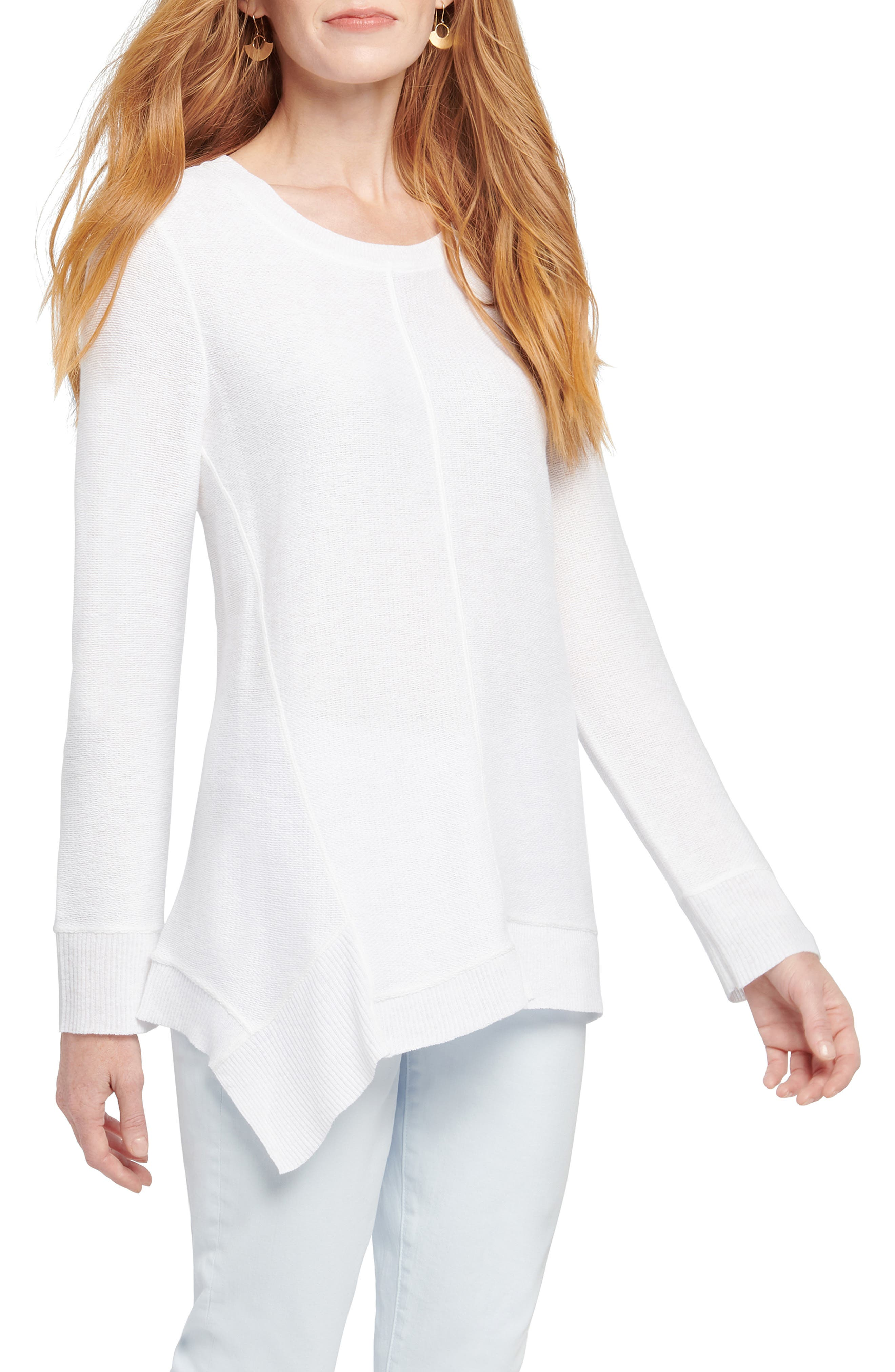 An elongated, asymmetrical hem creates an elegant line on a sweater that transitions easily into warmer weather in a lightweight linen blend. Style Name: Nic+Zoe Spring Fling Sweater. Style Number: 5967150. Available in stores.