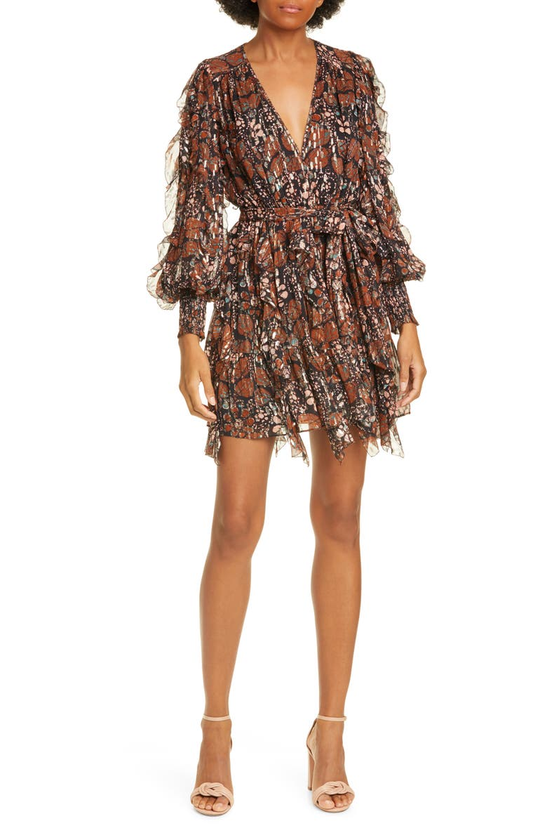 ULLA JOHNSON Natalia Metallic Shibori Long Sleeve Silk Blend Dress, Main, color, UMBER