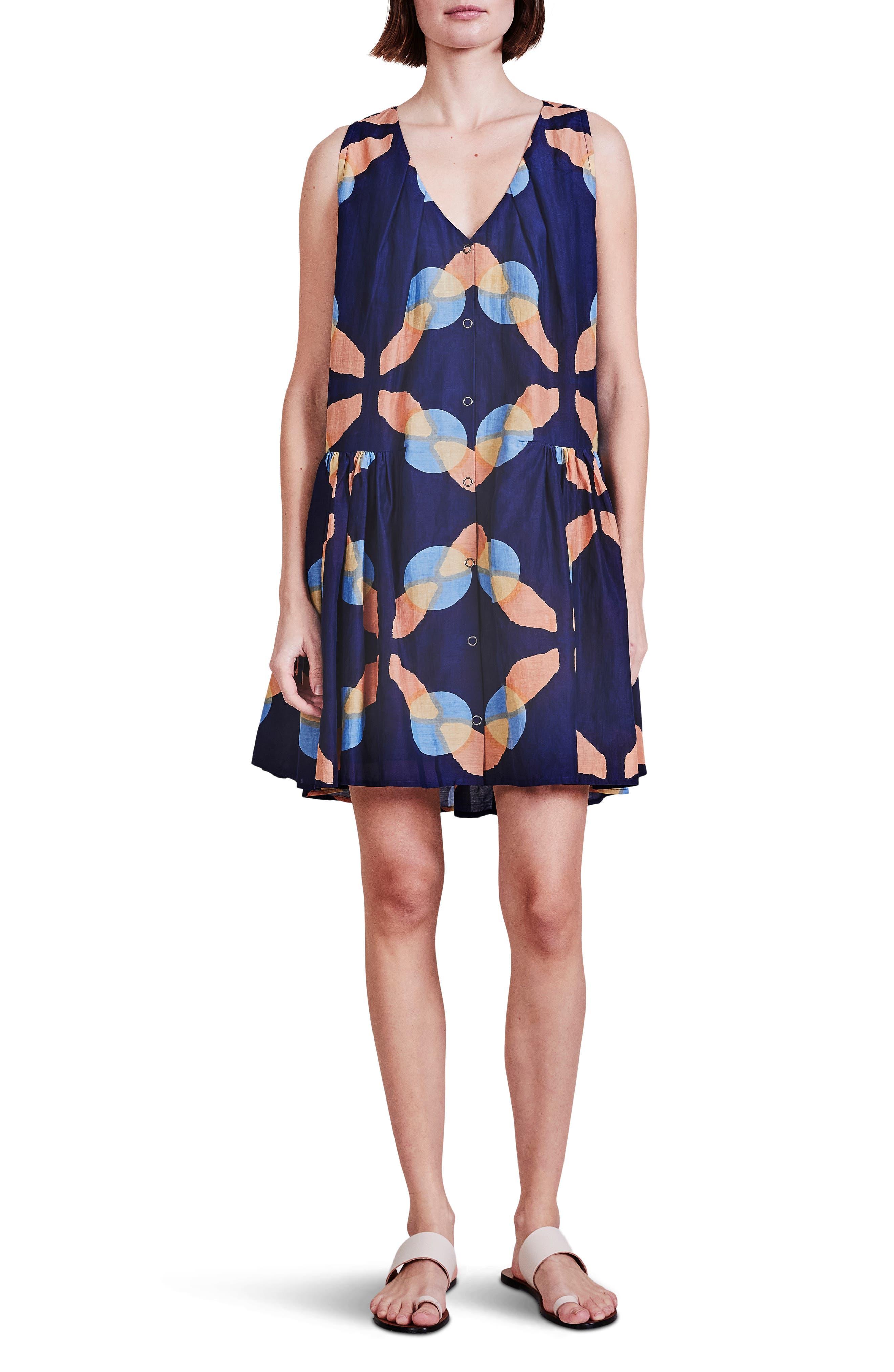 Rosarito Drop Waist Cotton & Silk Dress