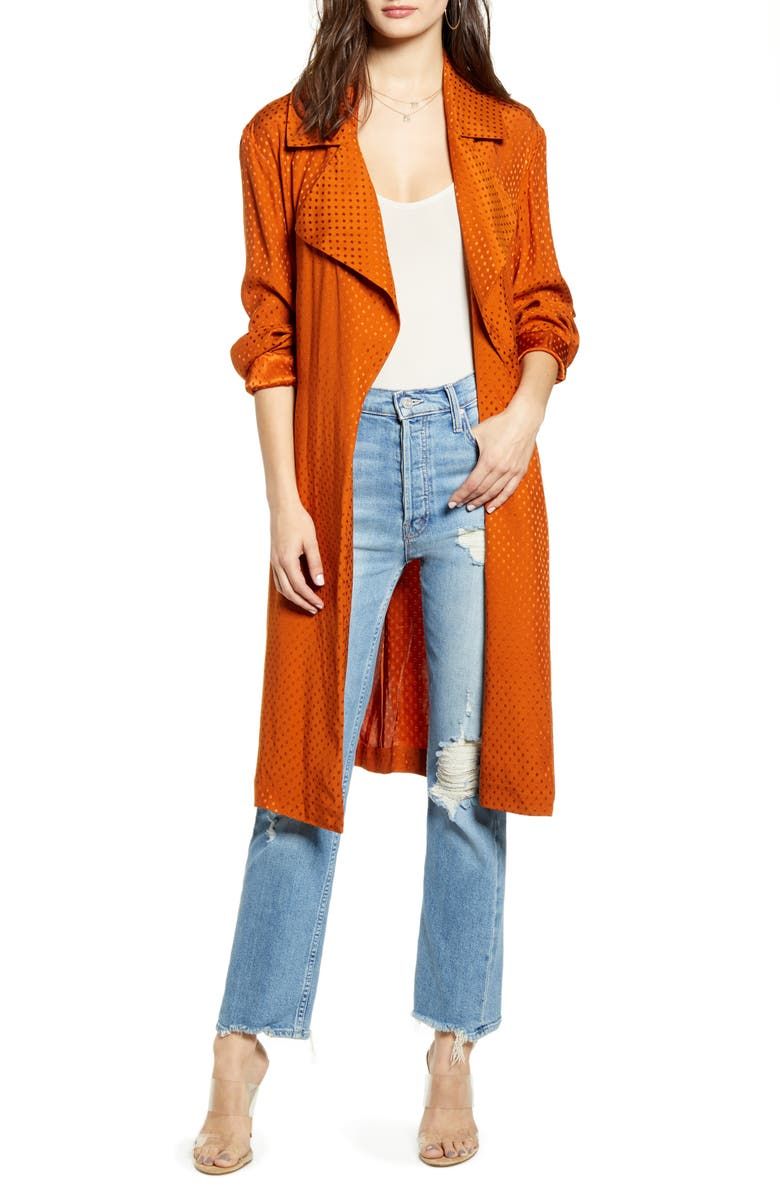 LEITH Dot Soft Trench Coat, Main, color, RUST UMBER