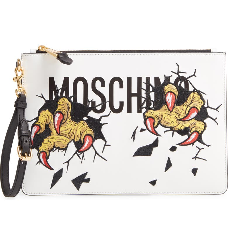 MOSCHINO Logo Embroidered Leather Clutch, Main, color, 100
