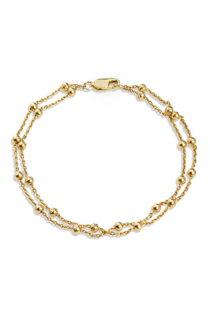 Image of Savvy Cie 18K Yellow Gold Plated Sterling Silver Italian Bead Double Strand Bracelet