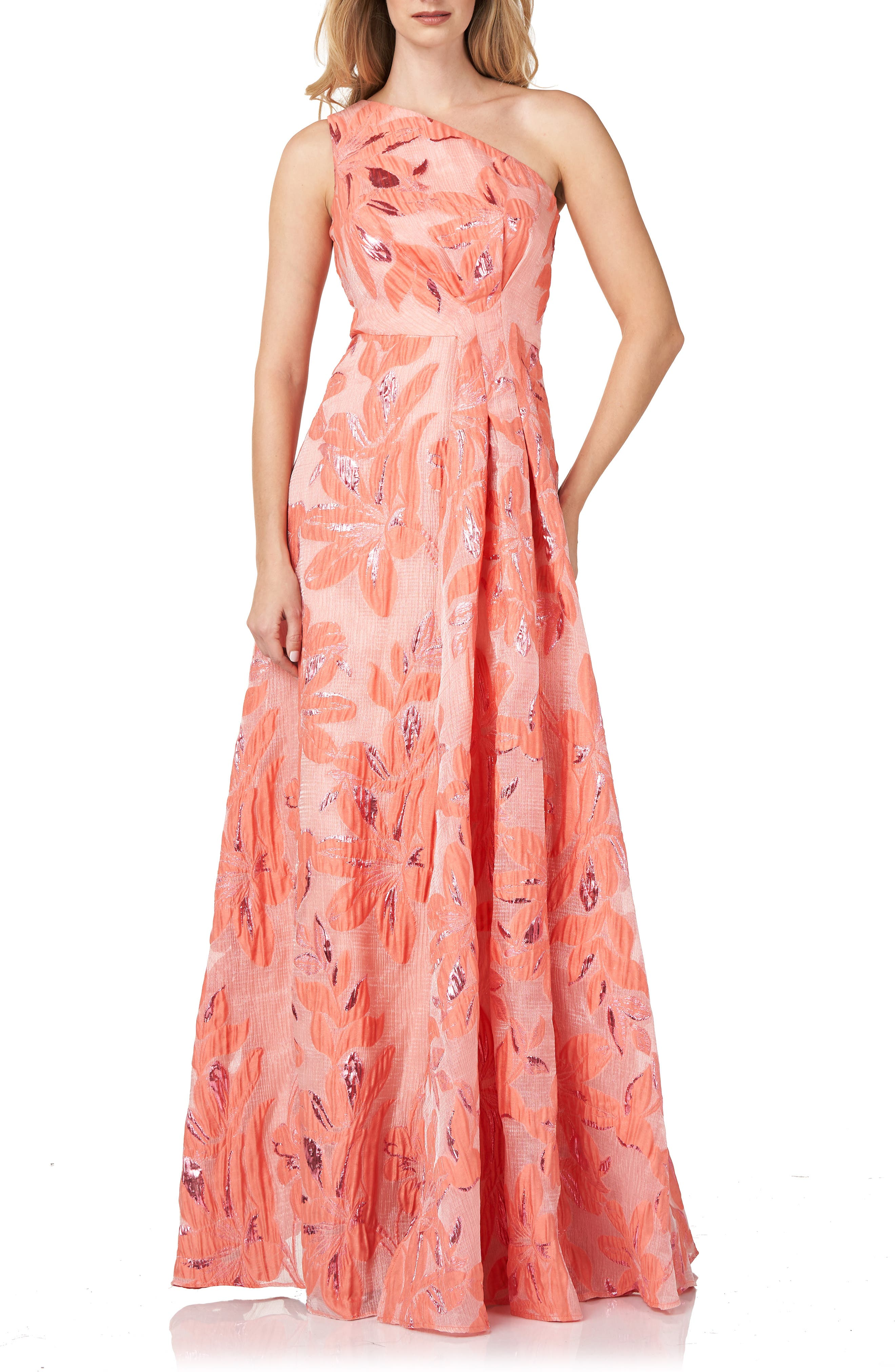 One-Shoulder Organza Jacquard Gown