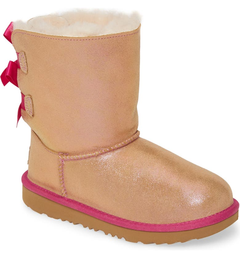 UGG<SUP>®</SUP> Bailey Bow Genuine Shearling Shimmer Boot, Main, color, CHESTNUT / FUCHSIA