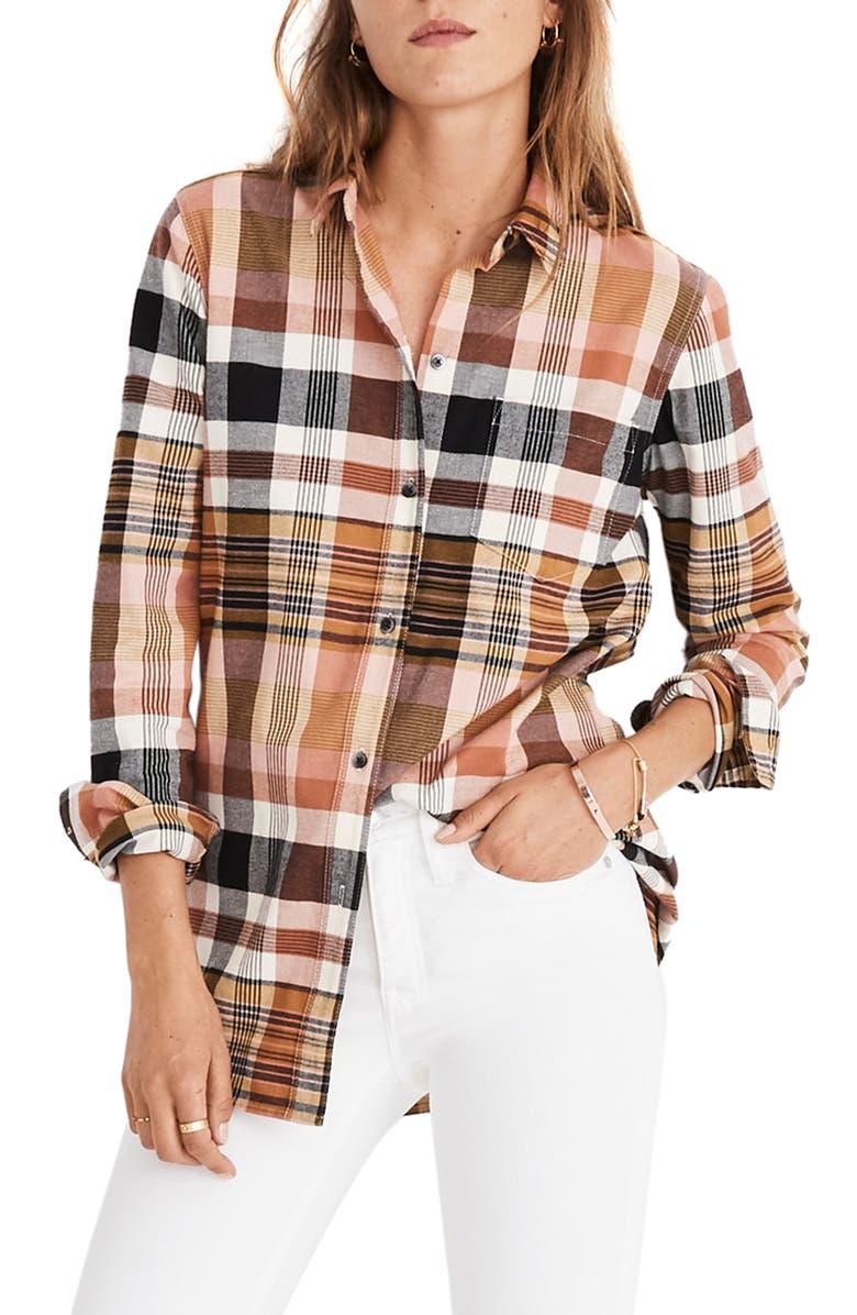 MADEWELL Classic Ex-Boyfriend Plaid Shirt, Main, color, DRIED CORAL