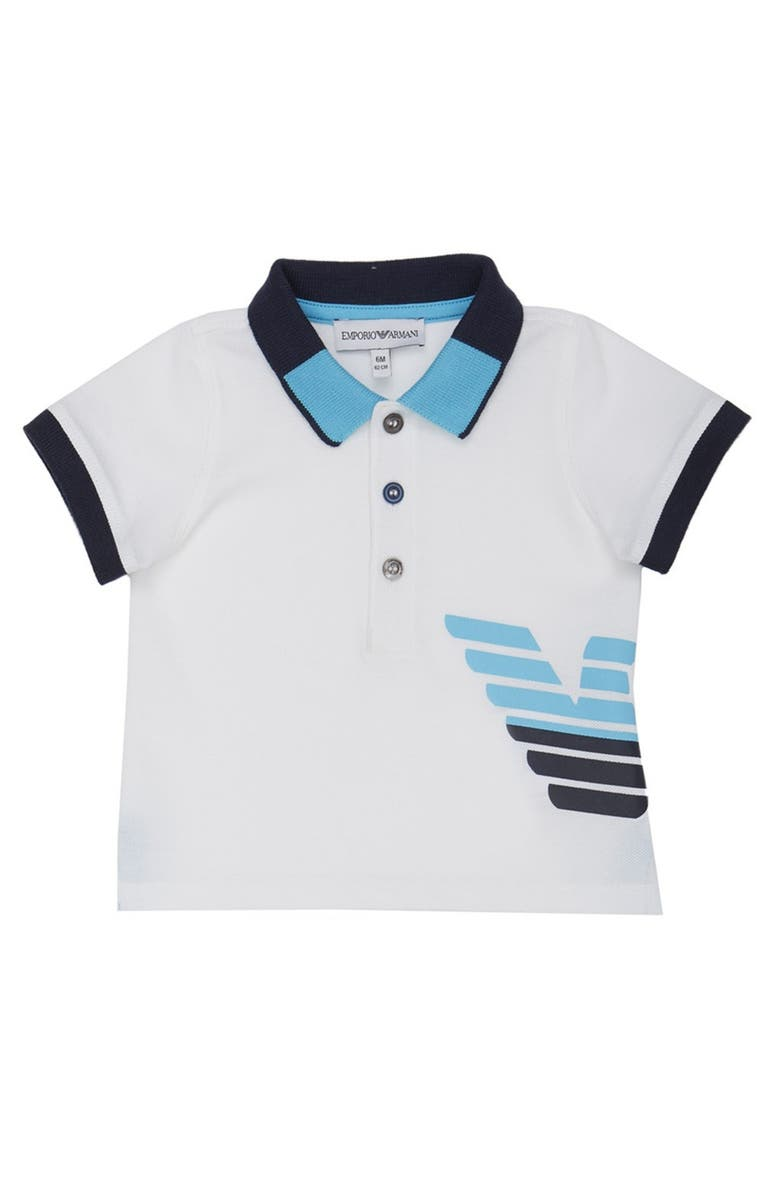 ARMANI JUNIOR Logo Graphic Polo, Main, color, BIANCO OTTICO