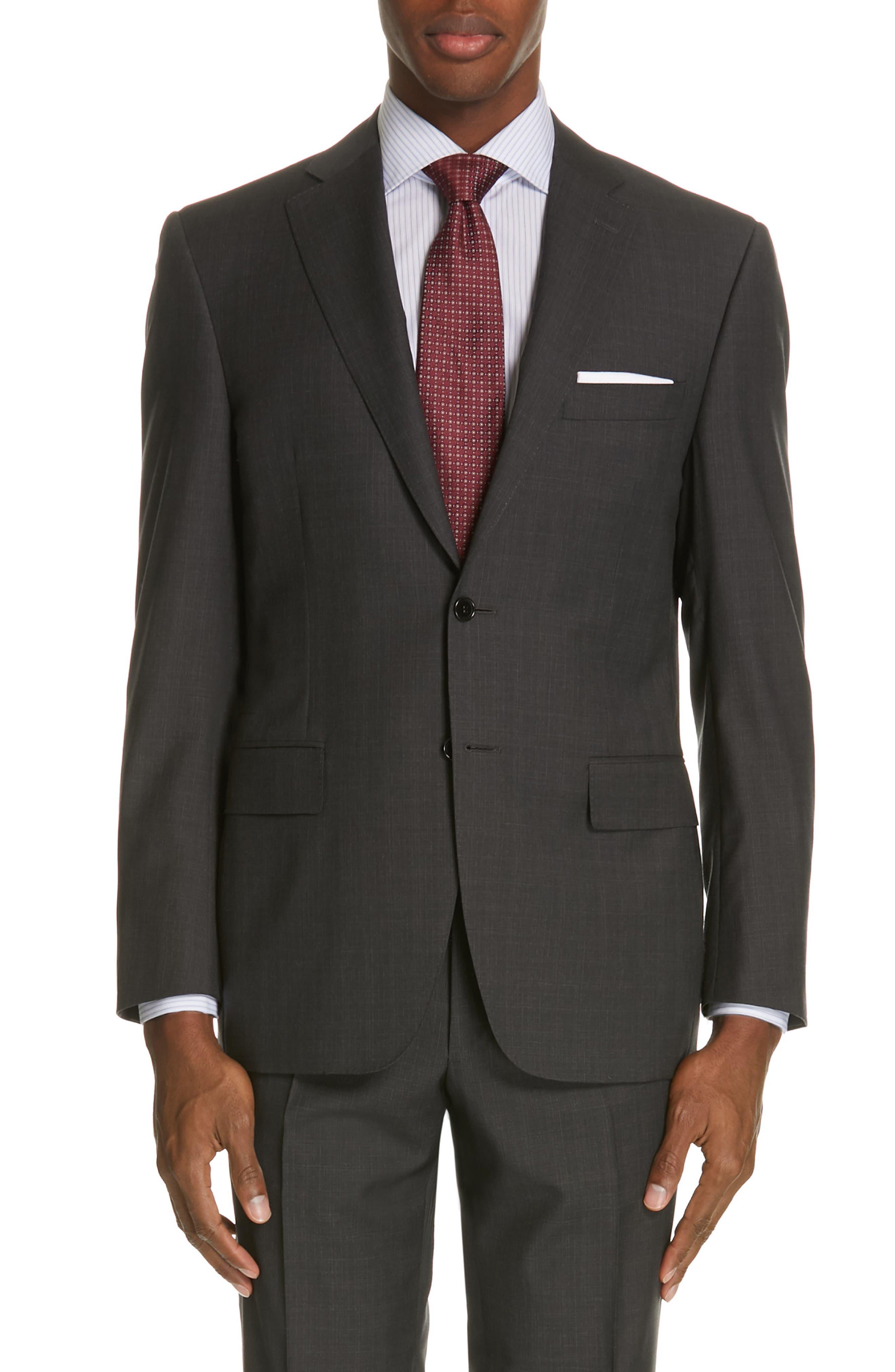 ,                             Siena Classic Fit Solid Super 130s Wool Suit,                             Alternate thumbnail 5, color,                             BLACK