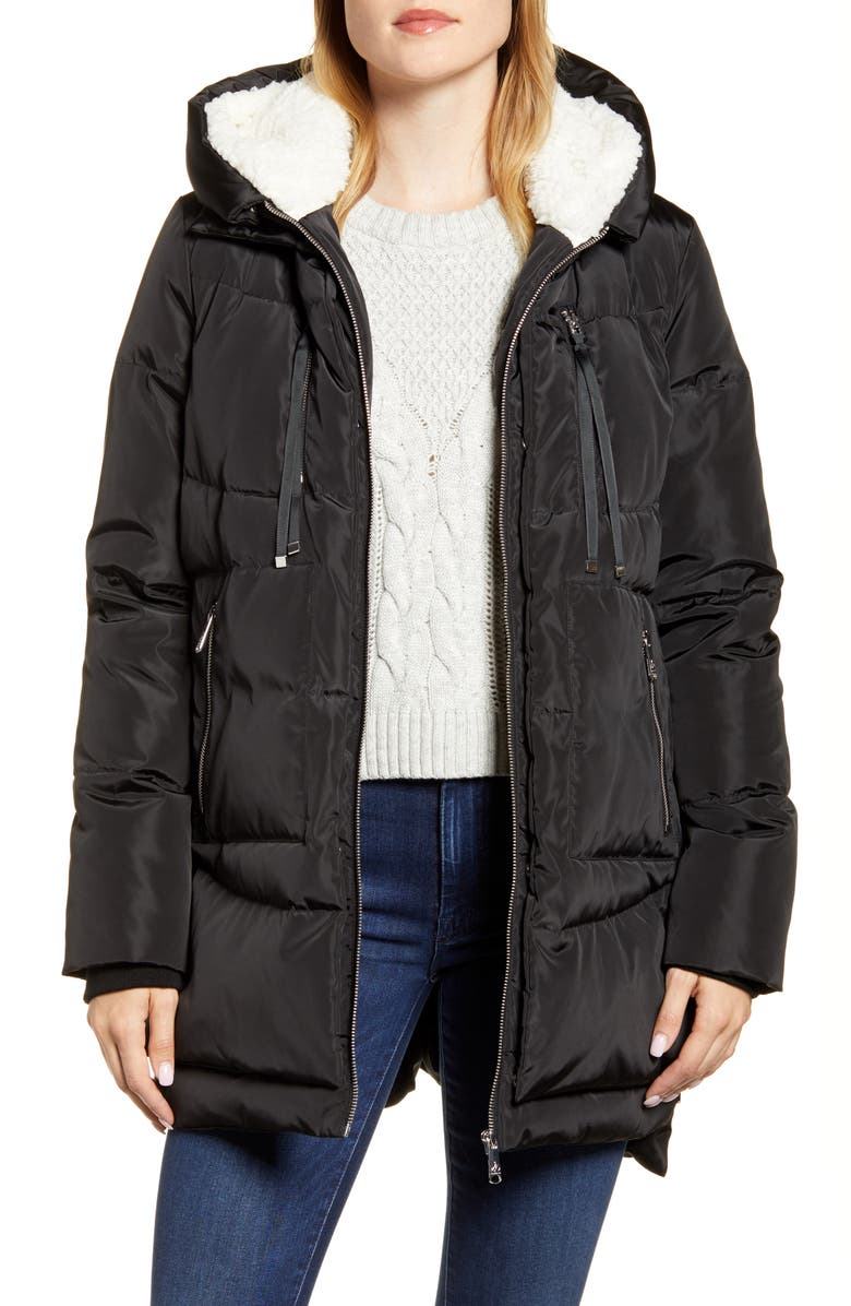 SAM EDELMAN Faux Shearling Lined Puffer Coat, Main, color, BLACK