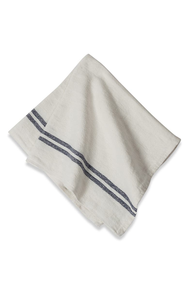 CARAVAN Set of 4 Vintage Linen Napkins, Main, color, NAVY STRIPE