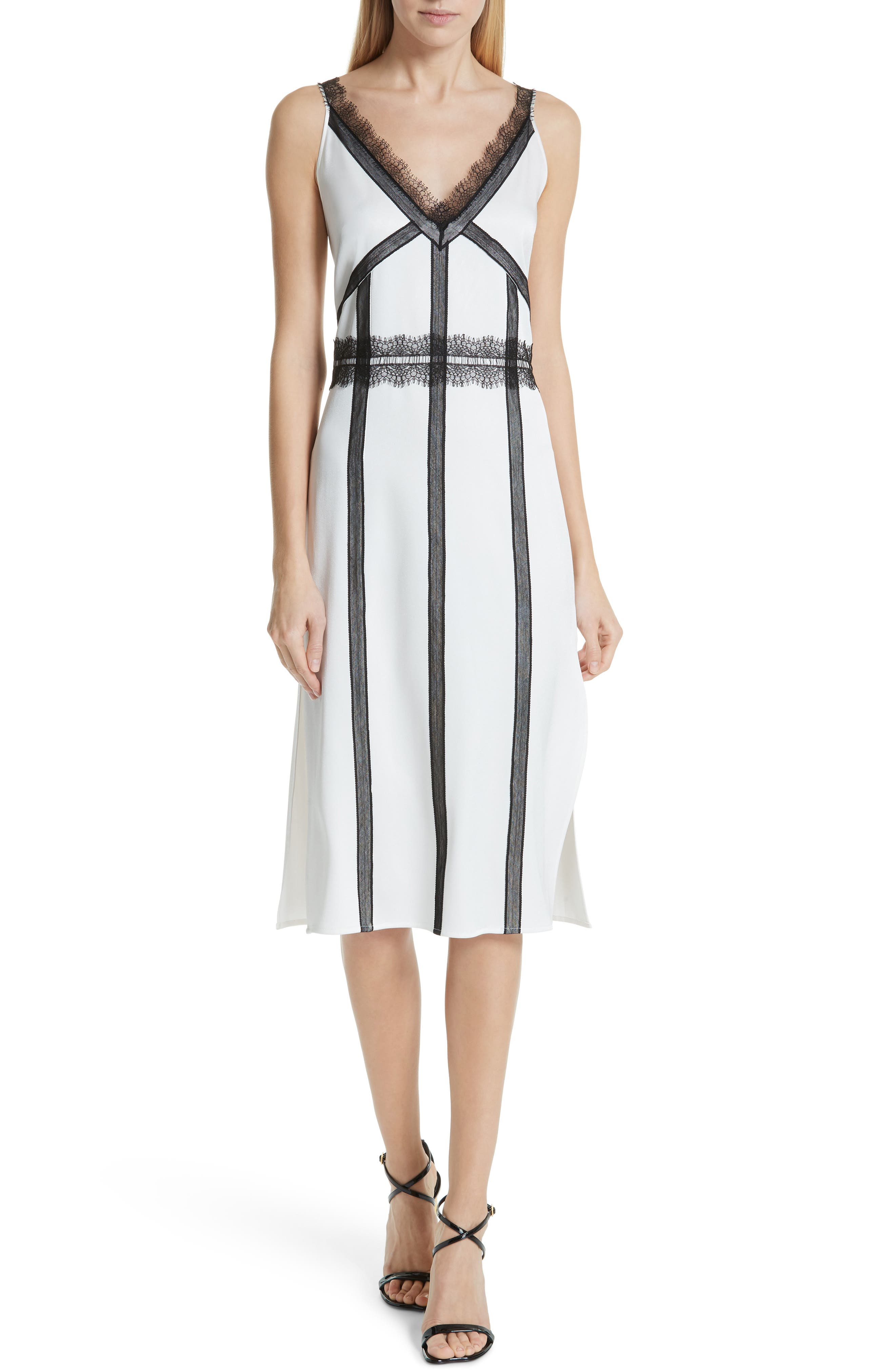 ,                             Crepe Back Satin Dress,                             Main thumbnail 1, color,                             COCONUT WHITE