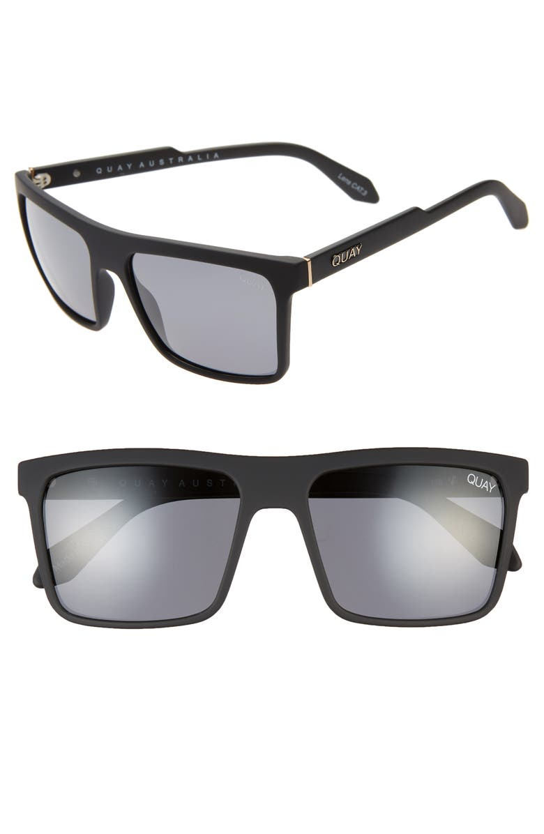 QUAY AUSTRALIA Let It Run 57mm Polarized Sunglasses, Main, color, MATTE BLACK/ SMOKE