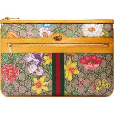 Gucci Ophidia Floral Gg Supreme Canvas Pouch - Beige
