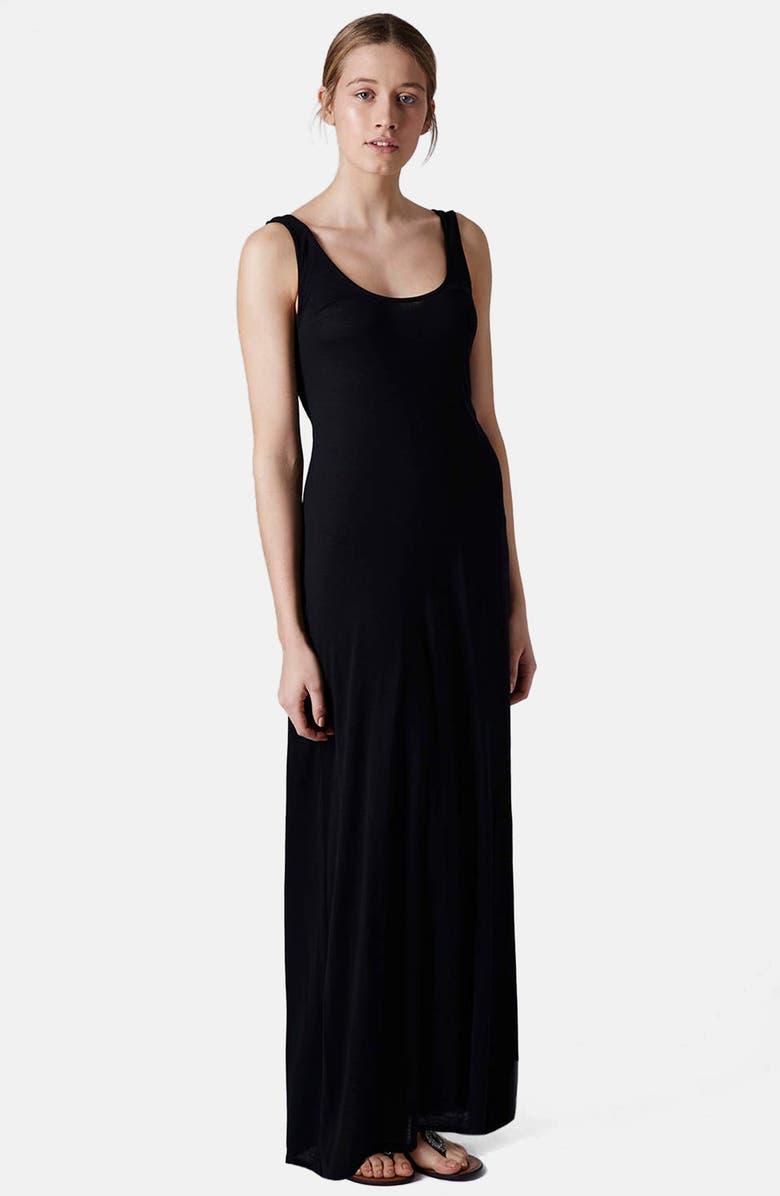 TOPSHOP Knit Tank Maxi Dress, Main, color, 001
