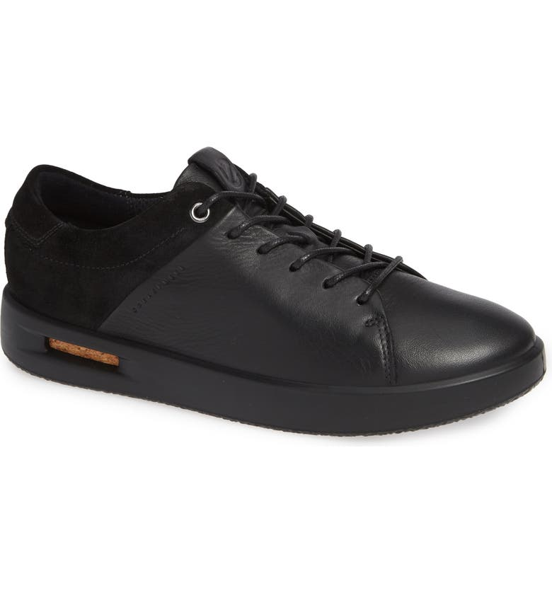 ECCO Corksphere Waterproof Sneaker, Main, color, BLACK LEATHER