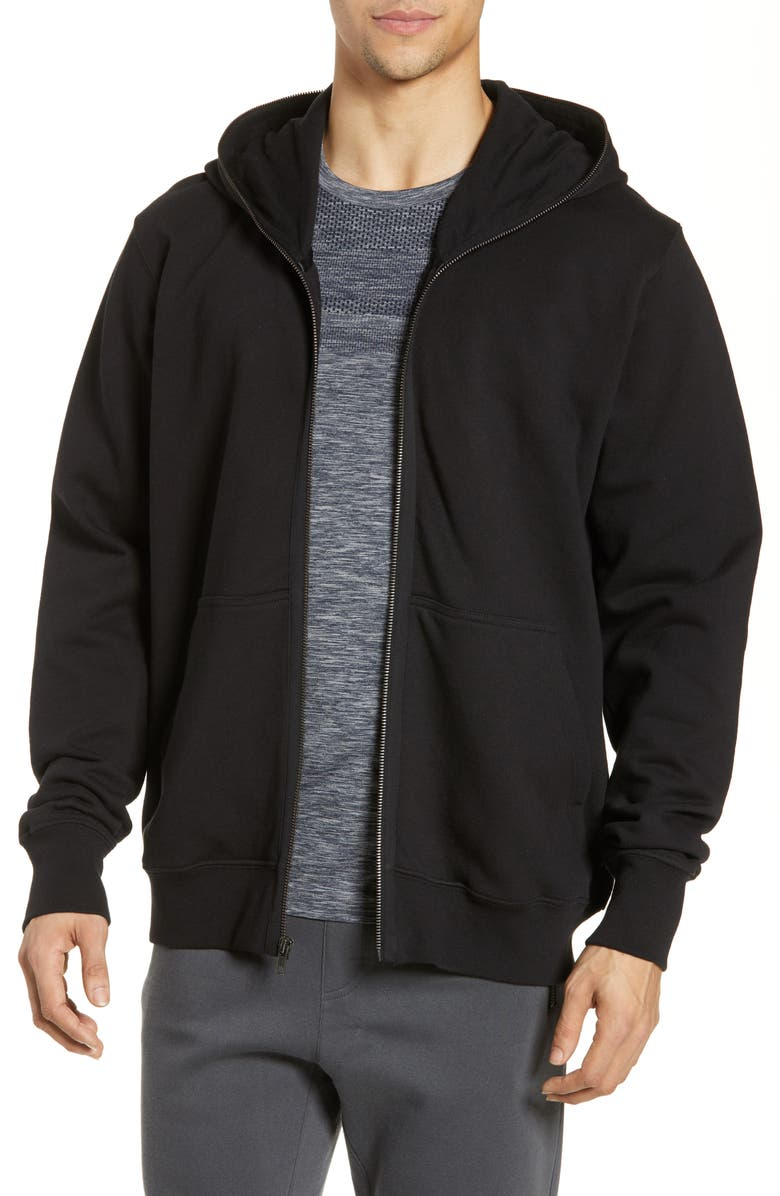 ALO Zip Through Hoodie, Main, color, BLACK