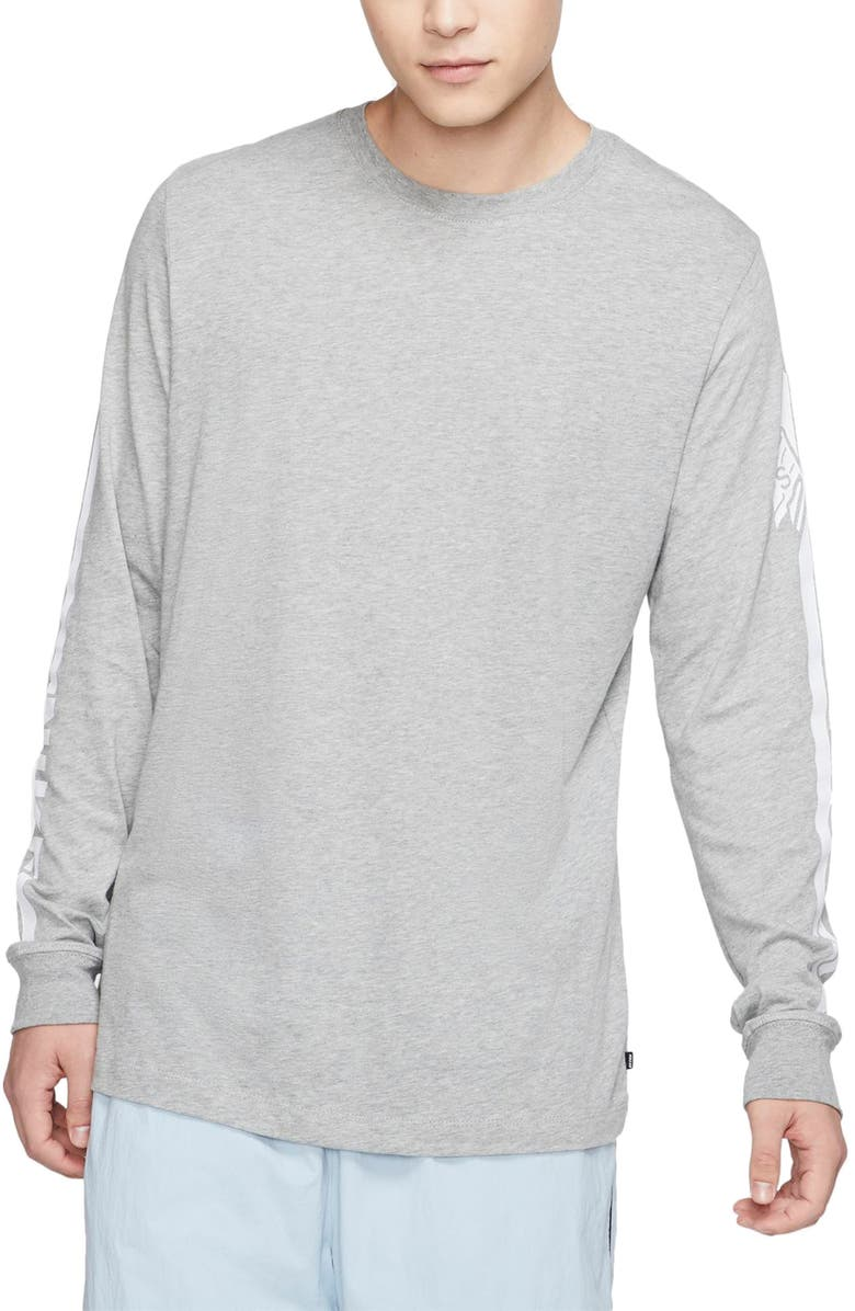 NIKE SB Long Sleeve Flags T-Shirt, Main, color, DARK GREY HEATHER