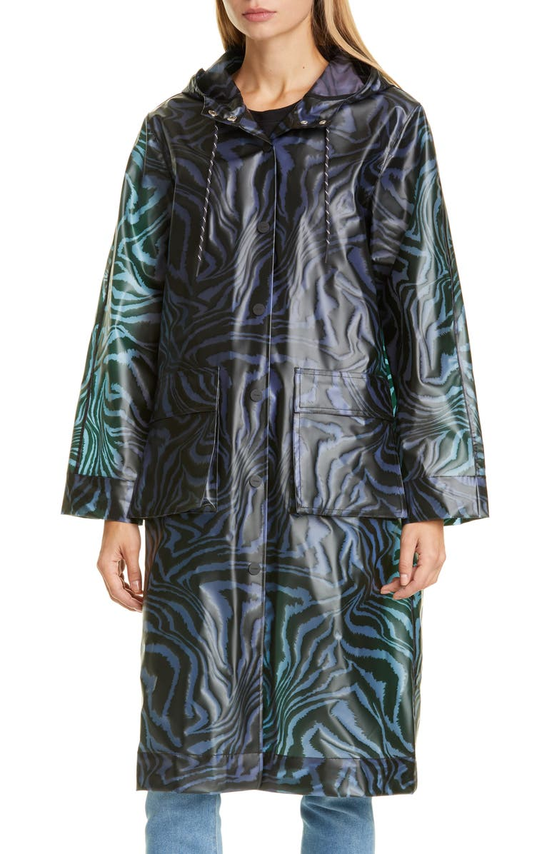 GANNI Tiger Print Water Repellent Biodegradable Raincoat, Main, color, 400