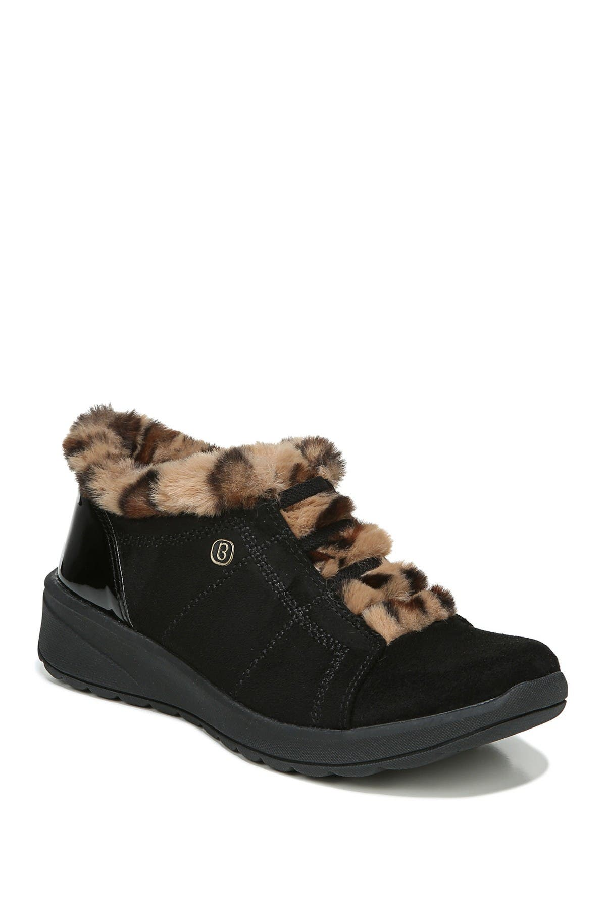 Image of BZEES DO NOT SELL Golden Leopard Faux Fur Trim Wedge Slip-On Bootie