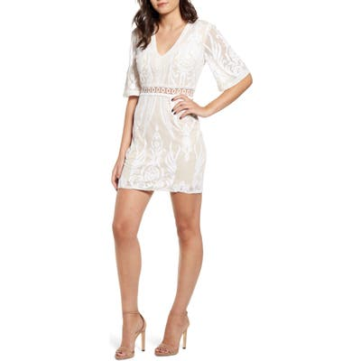 Endless Rose Lace Trim Embroidery Minidress, Beige
