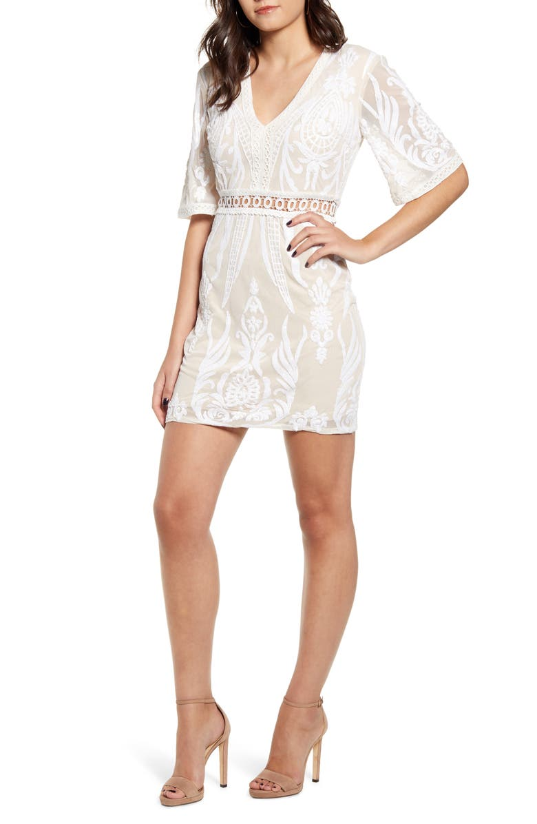 ENDLESS ROSE Lace Trim Embroidery Minidress, Main, color, BEIGE