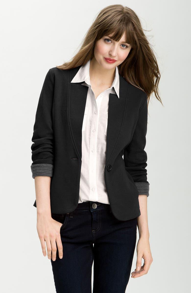 CASLON<SUP>®</SUP> Double Knit Blazer, Main, color, 001
