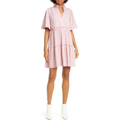 Sea Clara Tiered Minidress, Pink