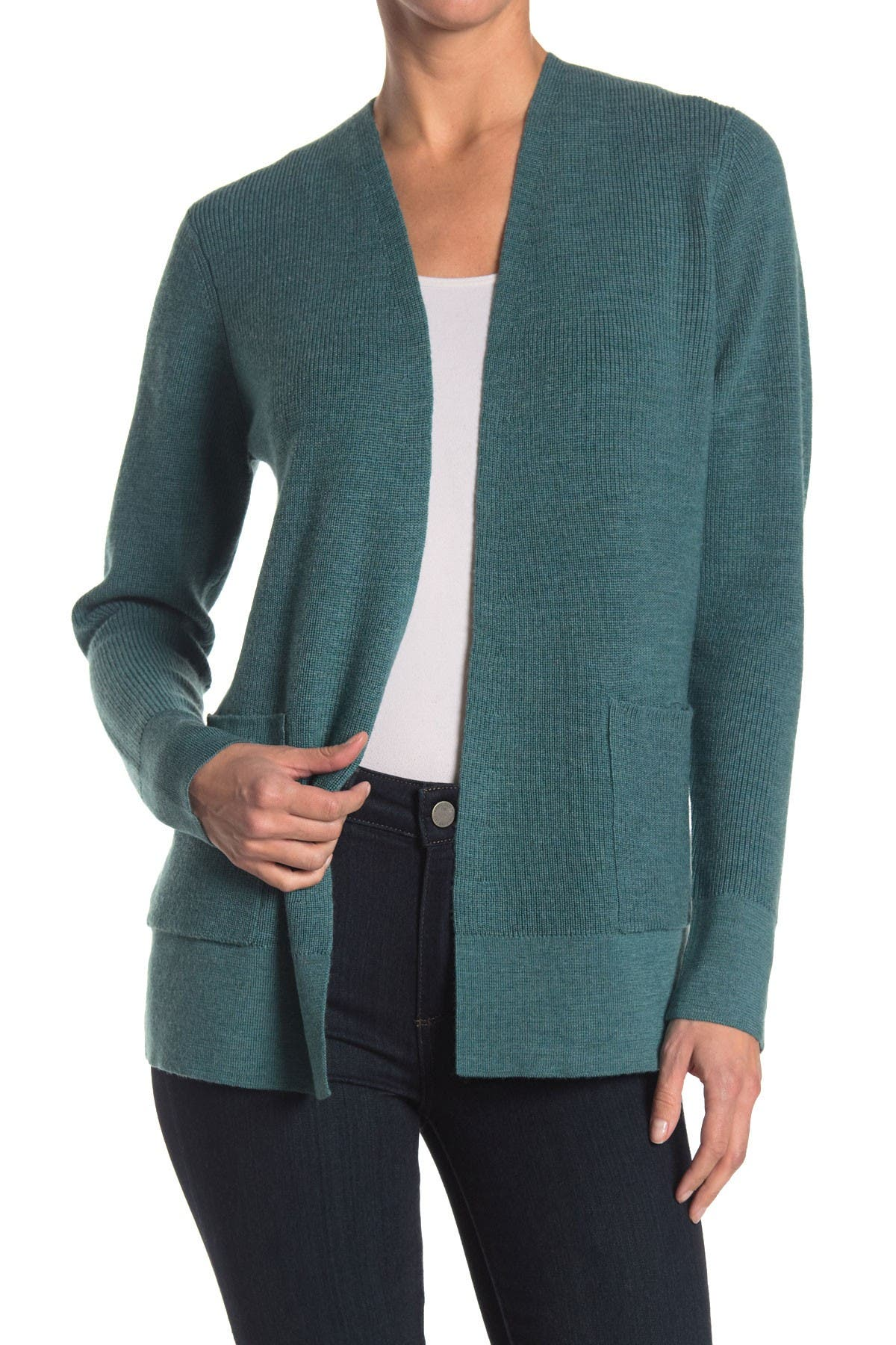 Image of Eileen Fisher Simple Open Front Wool Knit Cardigan
