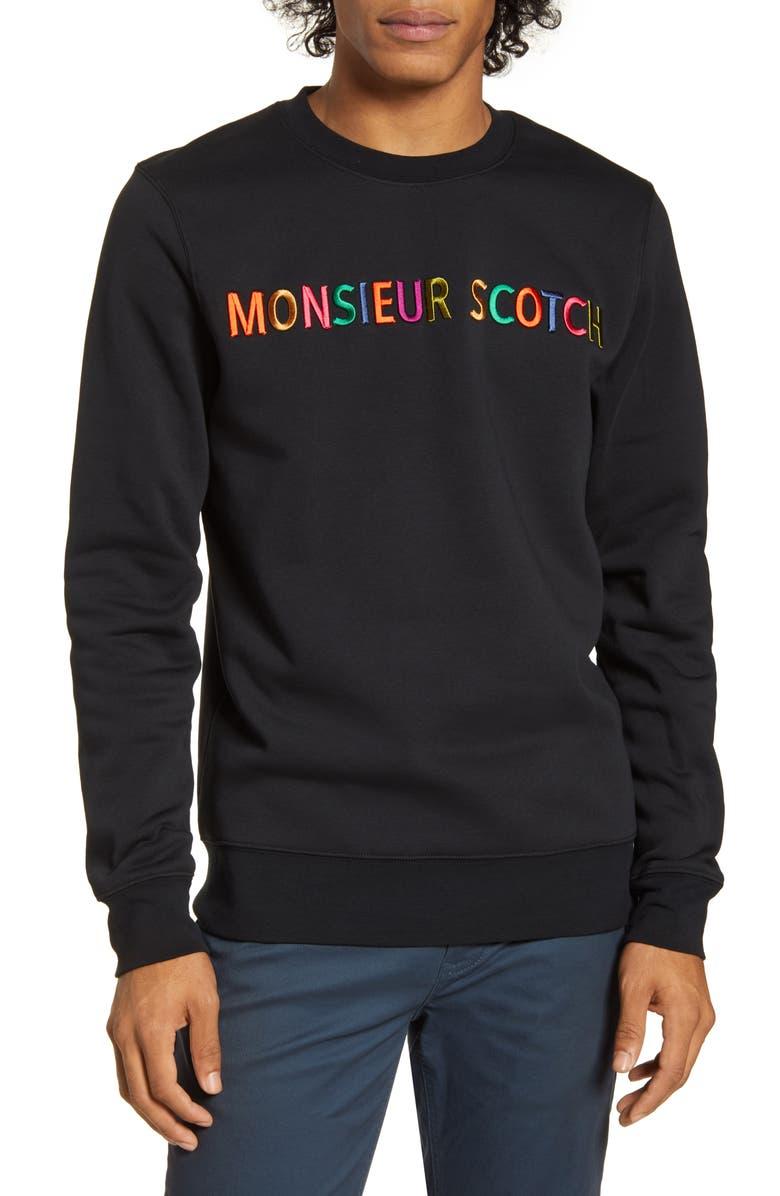 SCOTCH & SODA Embroidered Crewneck Sweatshirt, Main, color, 010