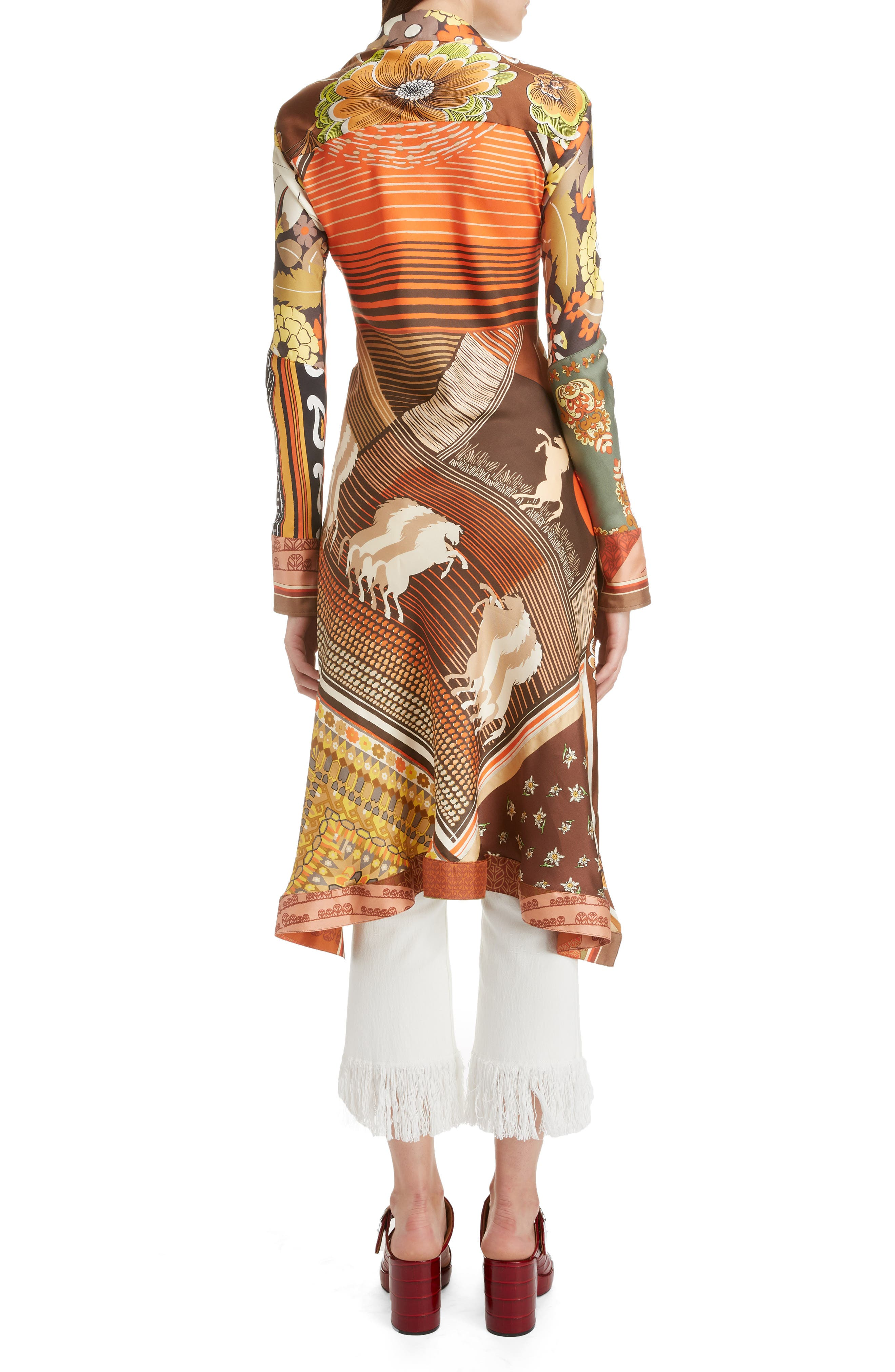 ,                             Caravan Print Silk Tunic Shirt,                             Alternate thumbnail 2, color,                             MULTICOLOR ORANGE