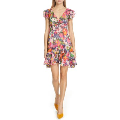 Saloni Catia Floral Print Silk Blend Minidress, Pink