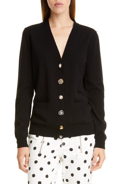 Marc By Marc Jacobs The Marc Jacobs The Jeweled Button Cardigan In Black