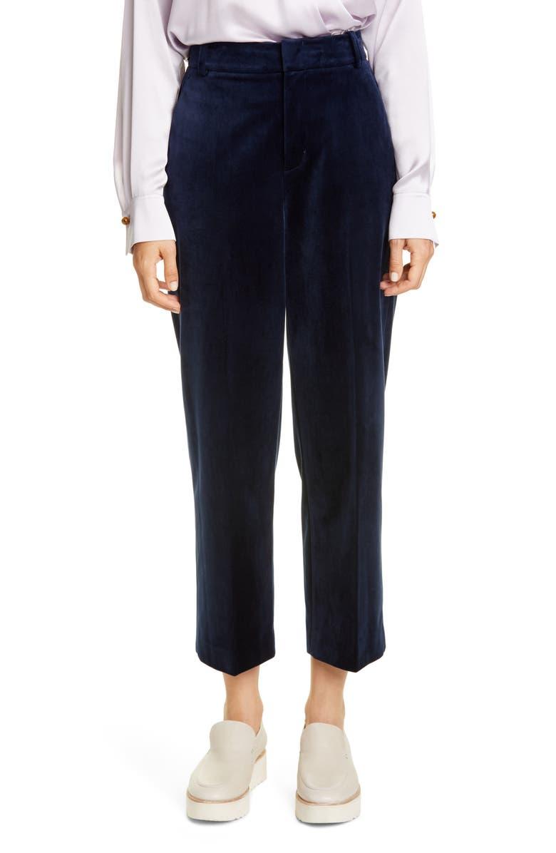 VINCE Velvet Crop Trousers, Main, color, BALTIC