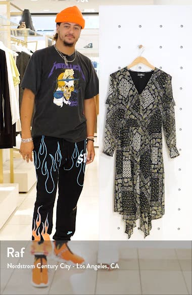 Western Flower Long Sleeve Handkerchief Dress, sales video thumbnail