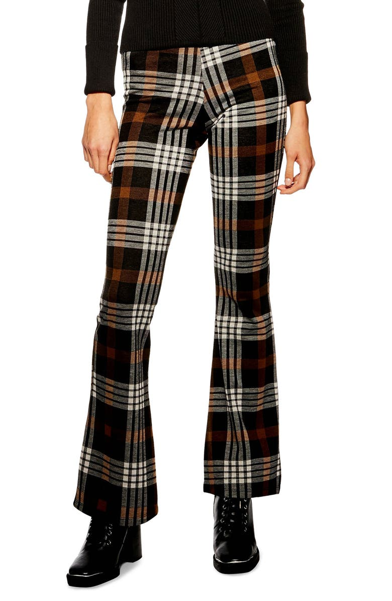 TOPSHOP Plaid Flare Pants, Main, color, 200