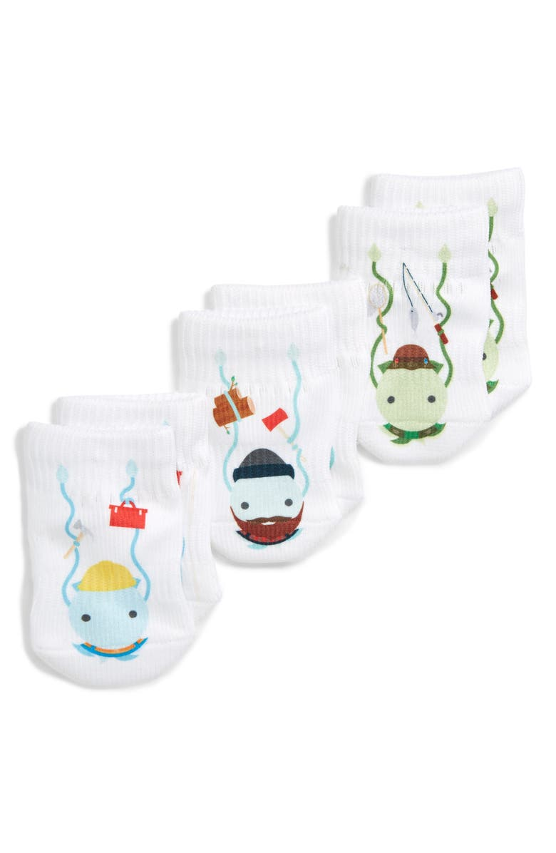 SQUID SOCKS Colton Collection Assorted 3-Pack Socks, Main, color, WHITE