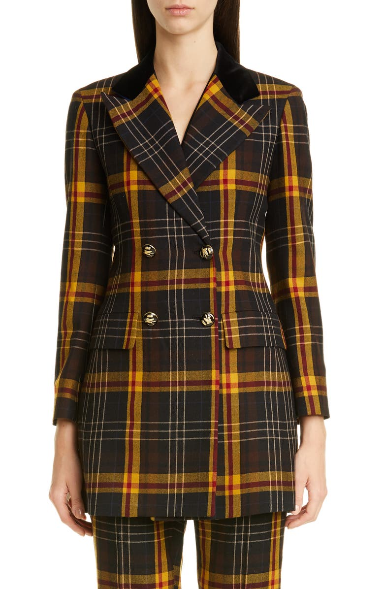ETRO Tartan Wool Blazer, Main, color, BLACK