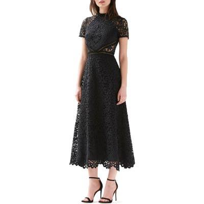 Ml Monique Lhuillier Short Sleeve A-Line Lace Midi Dress, Black