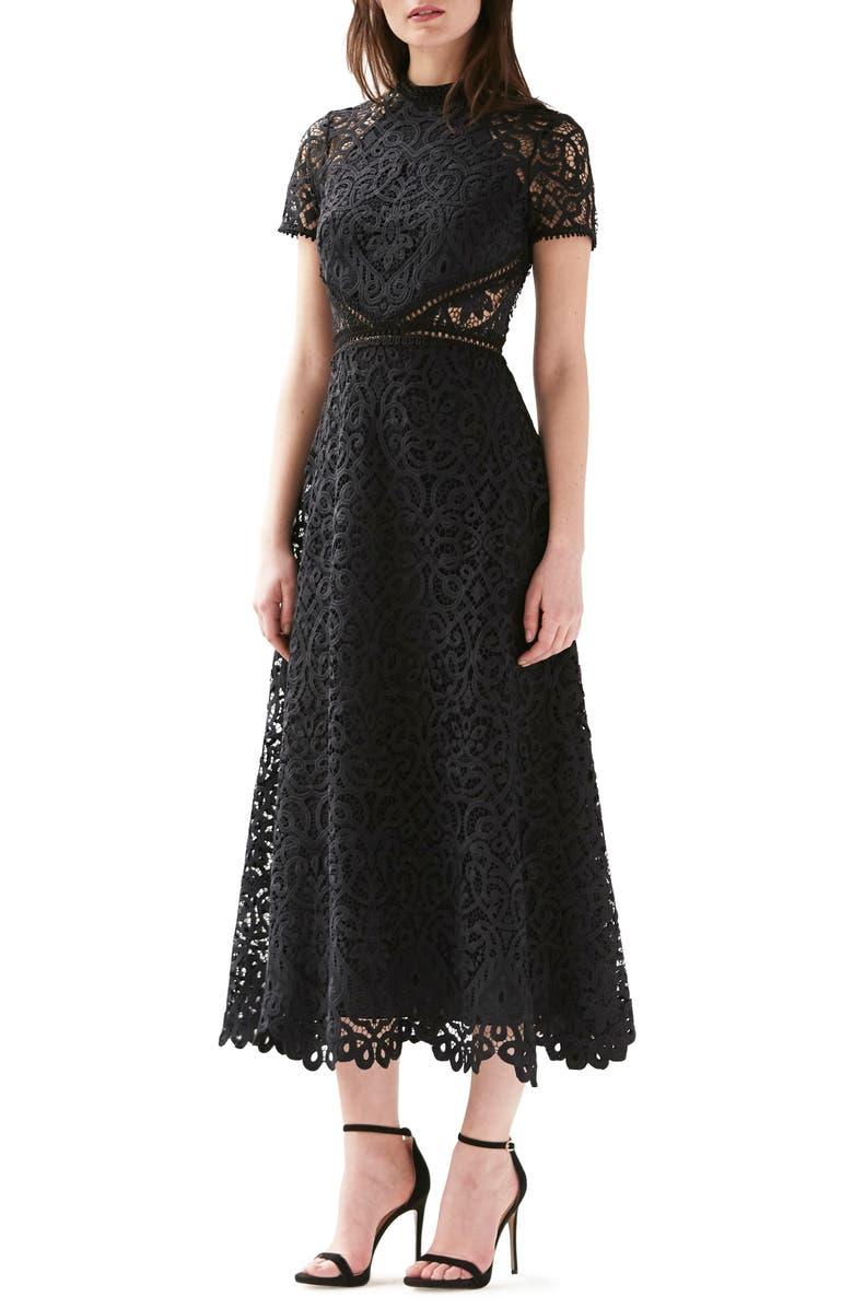 ML MONIQUE LHUILLIER Short Sleeve A-Line Lace Midi Dress, Main, color, JET