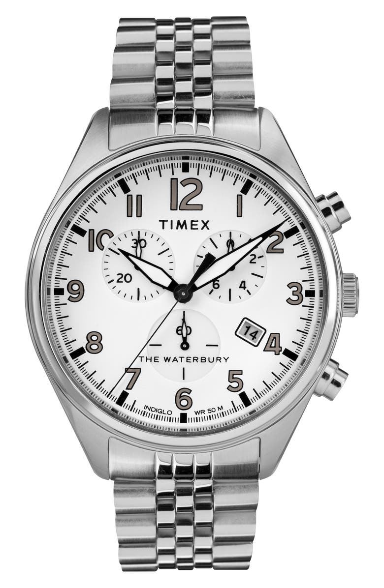 TIMEX<SUP>®</SUP> Waterbury Chronograph Bracelet Watch, 42mm, Main, color, SILVER/ WHITE/ SILVER