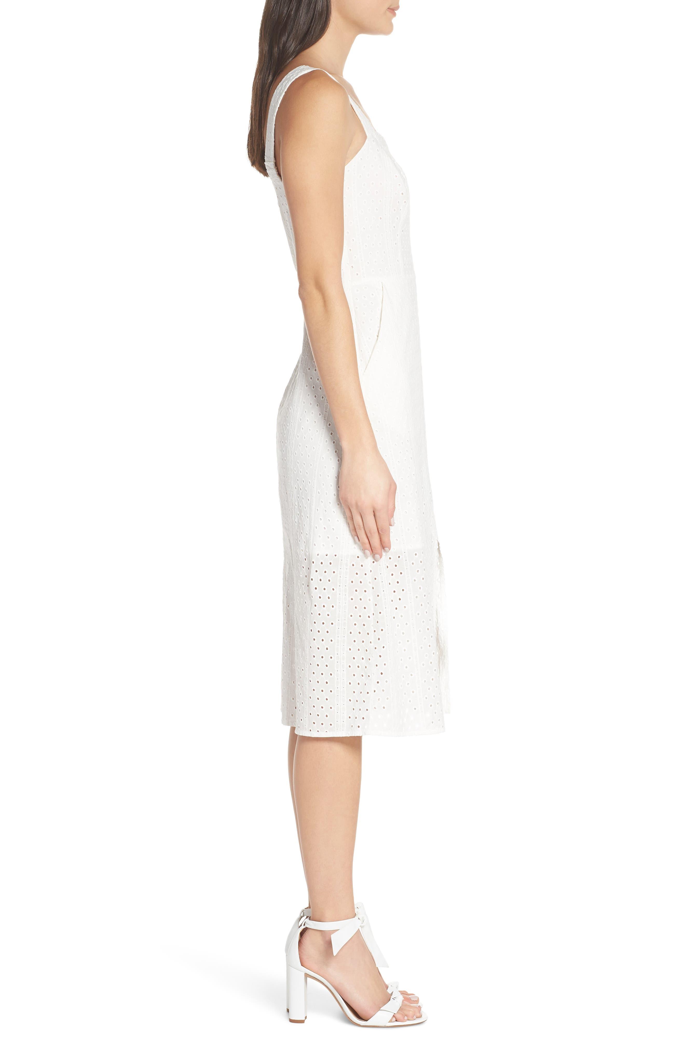 ,                             Look My Way Eyelet Midi Dress,                             Alternate thumbnail 4, color,                             WHITE