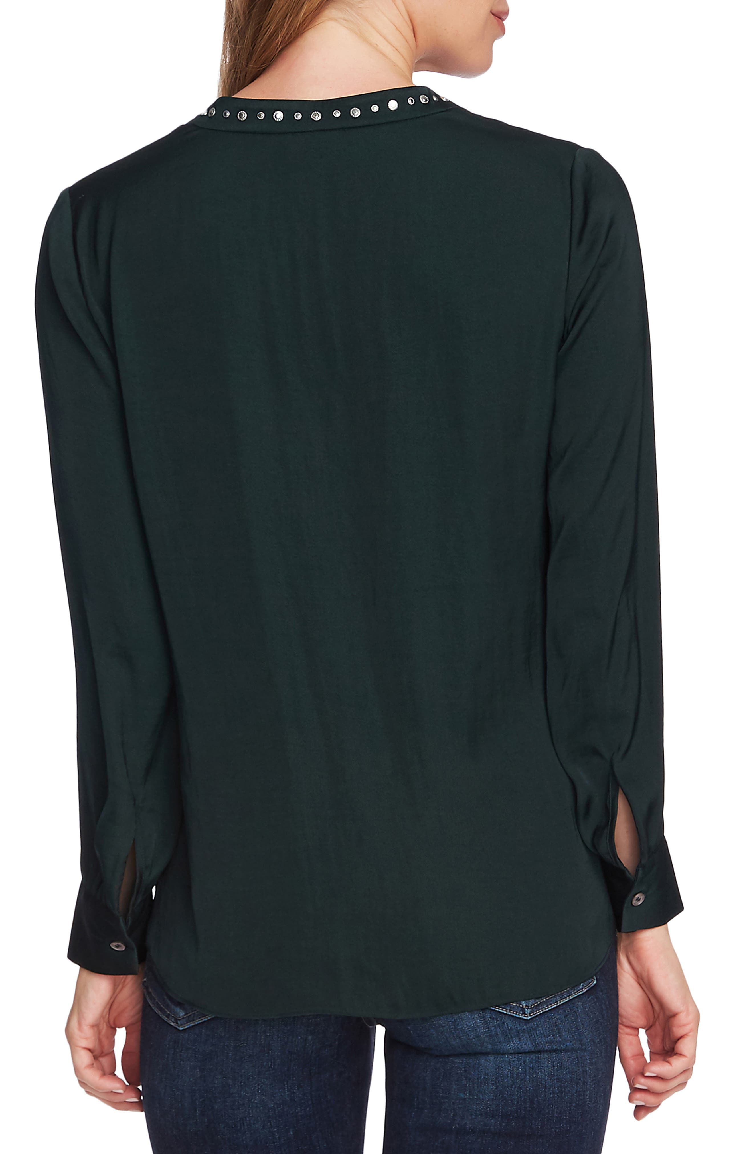 Vince Camuto Tops Studded V-Neck Rumple Blouse