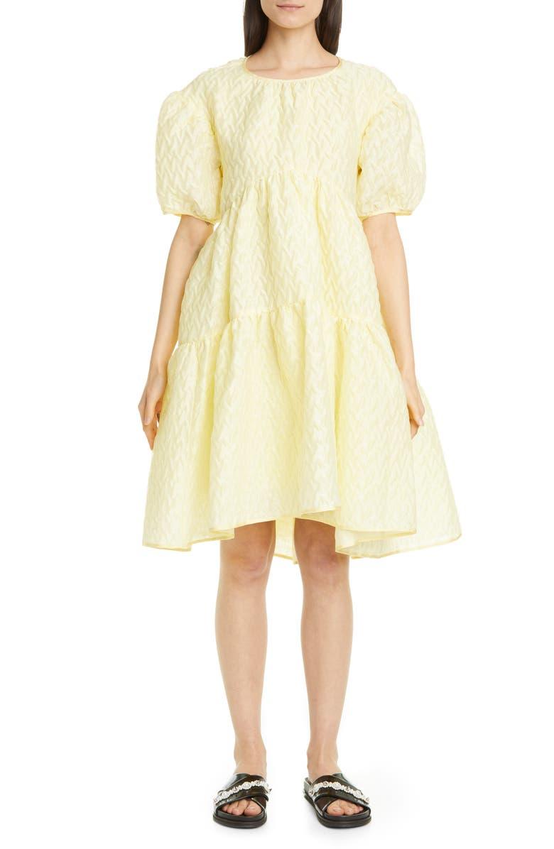 CECILIE BAHNSEN Effie Textured Linen Blend Dress, Main, color, 700